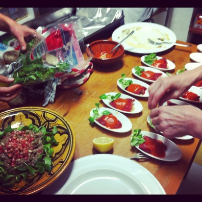 Plating and preparing, Christmas Eve Feast of Tapas- Cartajima, Spain