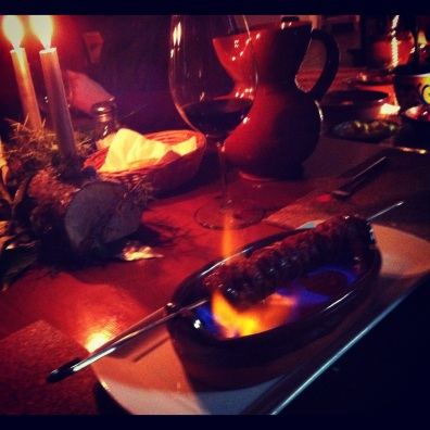 Flaming chorizo, Christmas- Cartajima, Spain.