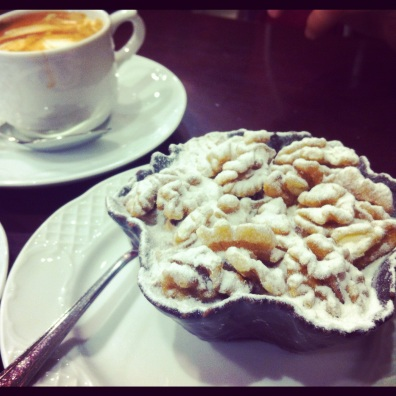 Sugary walnuts and cafe foam. Ronda, Spain.