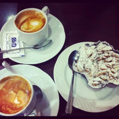 Cafe con leche & dessert- Ronda, Spain.