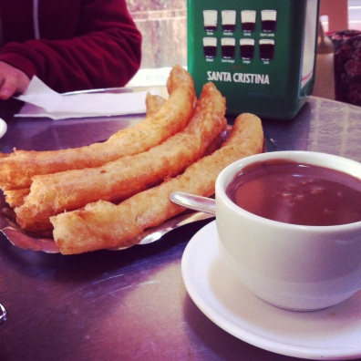 churros con chocolate- Malaga, Spain.