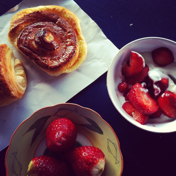 An Essaouira morning- strawberries and pastries for breakfast.