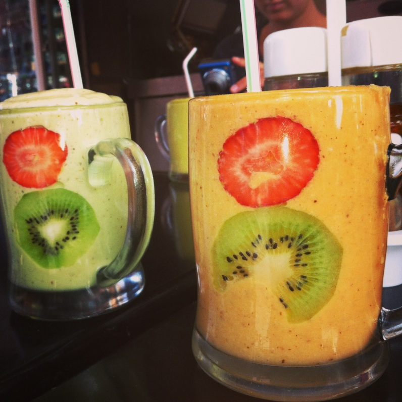 Smoothies, Moroccan style: carrot-almond-orange and avocado.