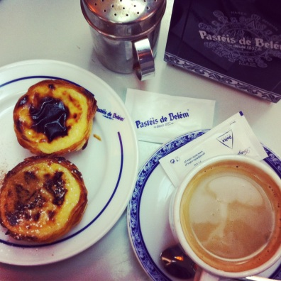 Pasteis de nata and coffee in Belem, Portugal. Best custard tarts in Lisbon.