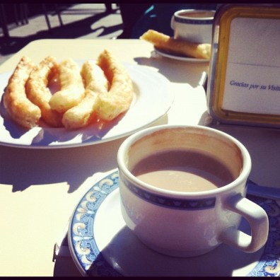 Churros and coffee in Spain.