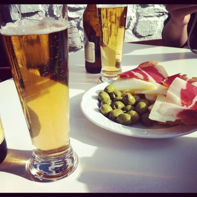 Cerveza y jamon. Spain.