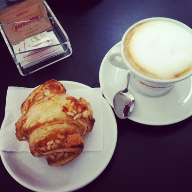 Cappuccino and a croissant: Italian breakfast.
