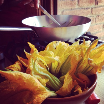 Zucchini flowers waiting to be fried