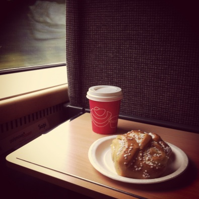 Train travel, breakfast en route, Sweden.