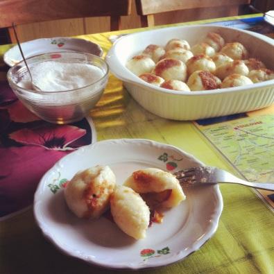 plum dumplings in Poland.