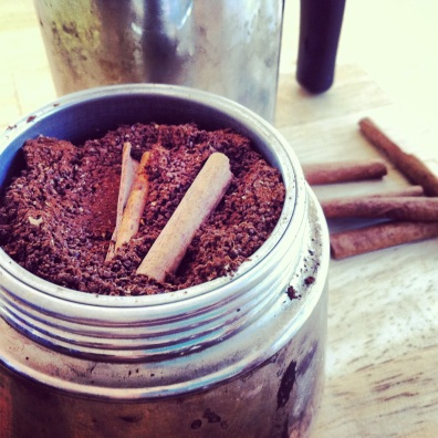 Moka pot cinnamon coffee