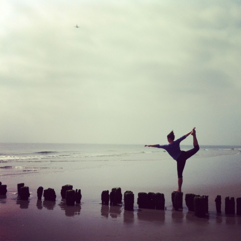 Shoreside dancer's pose, Rockaway beach nyc